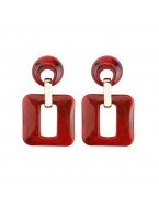 Boucles d'oreilles écaille carrées, rouge