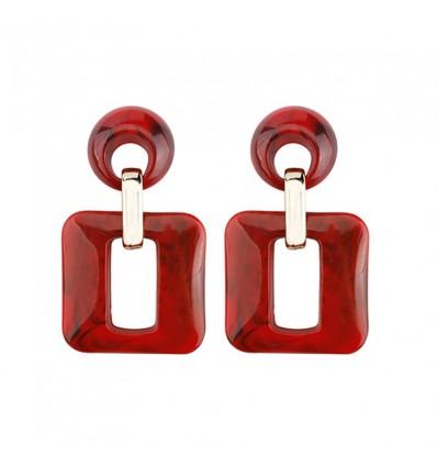 Boucles d'oreilles pendantes carrées, rouge
