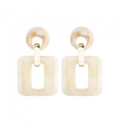Boucles d'oreilles pendantes carrées, beige