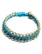 Bracelet cordon chaine, bleu