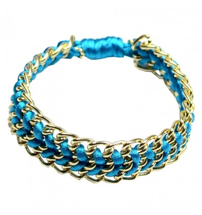 Bracelet cordon chaine bleu