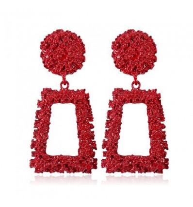 Boucles d'oreilles pendantes créoles rectangles, rouge