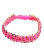 Bracelet cordon chaine, rose