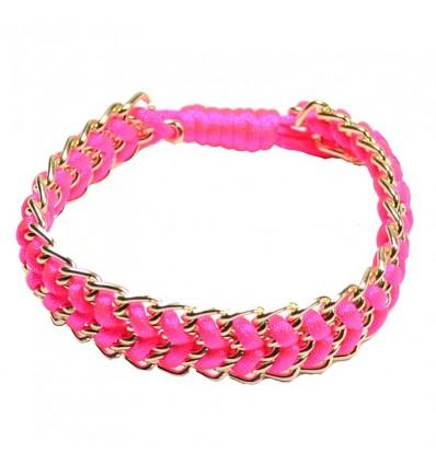 Bracelet cordon chaine rose