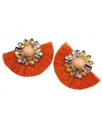 Boucles d'oreilles pompon, orange