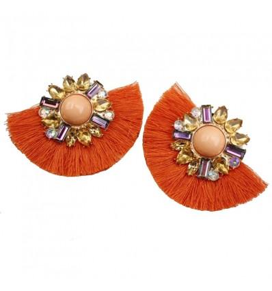 Boucles d'oreilles pompon, orange