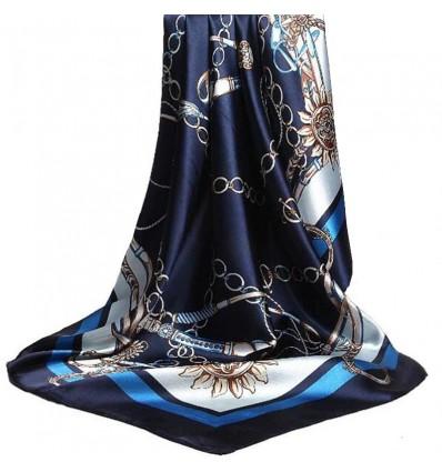 Foulard imprimé chaîne, bleu
