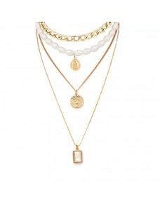 Collier multiple chaîne doré perles blanches