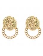 Boucles d'oreilles tête de lion, doré