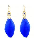 Boucles d'oreilles plume, bleu