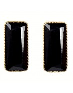 Boucles d'oreilles rectangle, noir