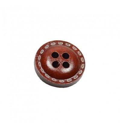 Bouton marron foncé motifs ovales