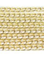 Chaine grosse maille effet brossé, doré - 1 mètre