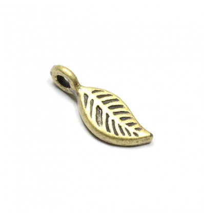Breloque charms feuille bronze