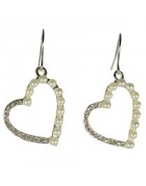 Boucles d'oreilles coeur et perles argent