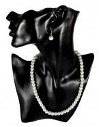 Parure mariée perles pendantes, blanc