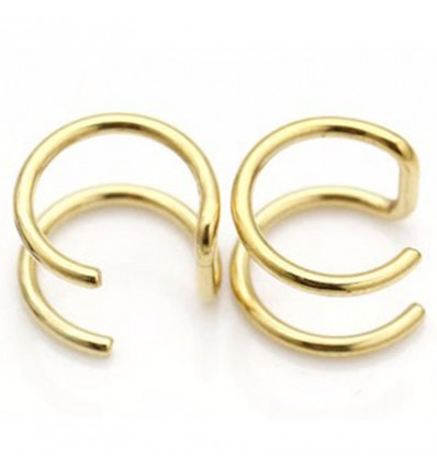 Faux piercing arcade 2 anneaux doré