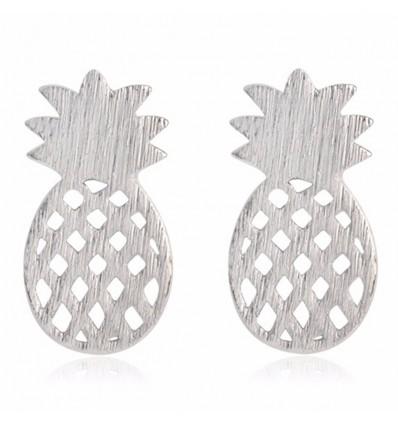 Boucles d'oreilles ananas argentées